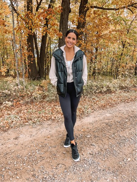 Faux leather puffer vest: true to size (S) oversized fit  Zip hoodie: sized up to a M  Bralette: true to size, size down if between  Leggings: size up  High top sneakers: size up if between   #LTKunder100 #LTKunder50 #LTKSeasonal