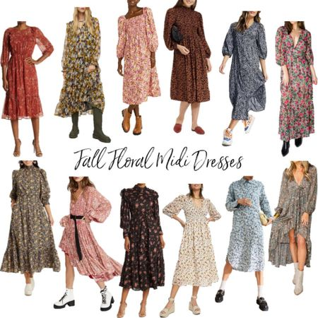 Fall floral midi dresses are my favorite transitional pieces! Linking my favorites here which would be perfect for your thanksgiving outfit, or for a fall wedding guest dress! . Midi dress long sleeve dress fall dress fall outfit wedding guest outfit  #LTKunder50 #LTKwedding #LTKunder100