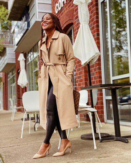 Fall favorites-a drapey trench and faux leather leggings! http://liketk.it/2XvlA #liketkit @liketoknow.it