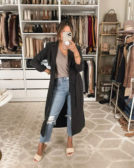 """You can now shop my fall 2021 collection I designed with @gibsonlook that includes this Belted Trench Duster Jacket I'm wearing in """"Black""""  Code: HAUTE15 for 15% OFF!  Sizing: TTS  Notes: This trench jacket is super lightweight and perfect for transitioning into fall! The slits on both sides give it a lot of movement & flow. It's single breasted & the belted waist tie I think both make it very flattering! It is also is available in """"Tan""""  #fallfashion #falloutfit #trench #trenchduster #trenchjacket #singlebreastedjacket #vnecktee #paddedshouldertee    #LTKworkwear #LTKunder100 #LTKsalealert"""