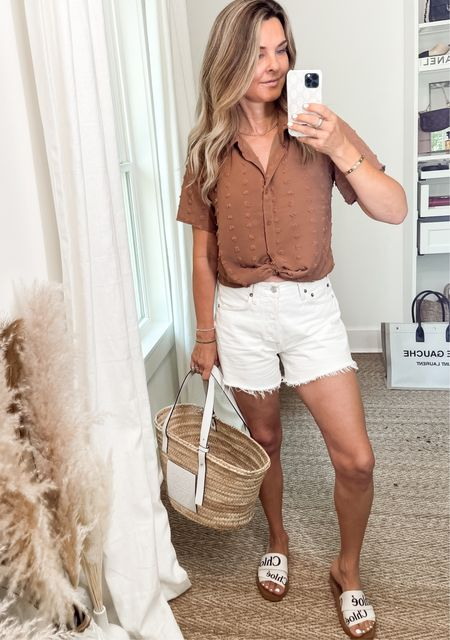 Easy Amazon top with long AGolde shorts and basket bag.   #LTKSeasonal #LTKunder100 #LTKunder50