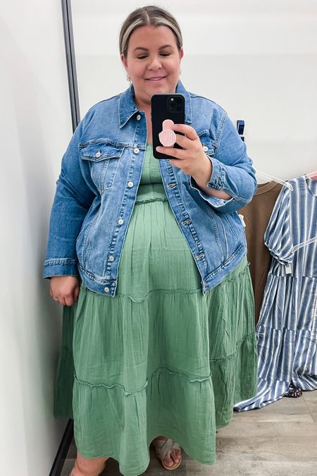 This plus size maxi dress is the prettiest color to go from summer to fall! If you need a casual plus size fall outfit, this plus size denim jacket is a classic piece for layering in the cooler weather.   #LTKunder50 #LTKstyletip #LTKcurves