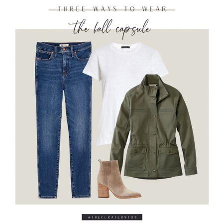 Madewell skinny jeans, white tee, hunter green utility jacket, field jacket, suede booties  #LTKstyletip #LTKshoecrush #LTKsalealert