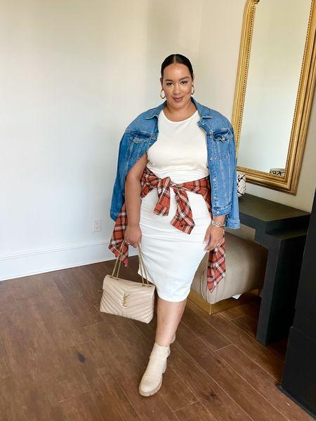 Transitioning a white dress for fall.   #LTKunder100 #LTKSeasonal #LTKcurves