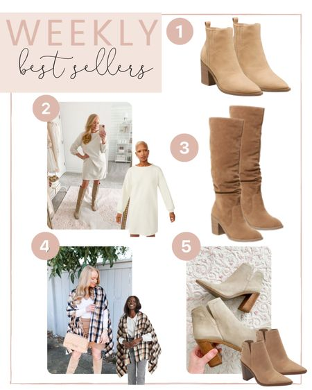 Your most loved items from this week! You all are loving all the neutral boots and booties, this pretty white sweater dress and plaid wrap!   #LTKunder100 #LTKSeasonal #LTKstyletip