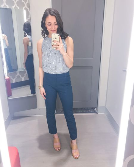 No Monday blues here with this spring workwear outfit! This sleeveless blouse is great to go from work to weekend. Simply paired it with these beautifully blue dress pants for a monochromatic esque outfit. You could easily add a cardigan or blazer if your office is typically cold.   Tank: XS Pants: 2R [only size they had and ran big in the waist - go with your regular size]   http://liketk.it/2L2aN #liketkit @liketoknow.it #LTKworkwear #LTKstyletip #LTKspring