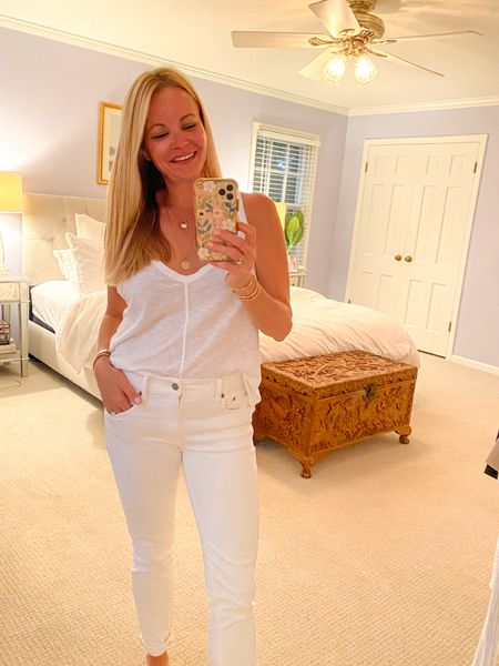Date night at home. All white outfit. Polo Tompkins skinny jeans, and LAMade Clothing white racer-back tank.   #LTKunder100 #LTKstyletip