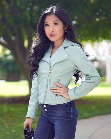 Mint Green faux leather biker jacket from Hollister! I love how spring gives me an opportunity to wear lighter and brighter colors!  http://liketk.it/3bCxD #liketkit @liketoknow.it