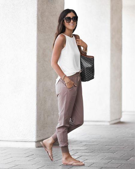 Amazon fashion, joggers, tank, sandals, tote, StylinbyAylin   #LTKunder100 #LTKunder50