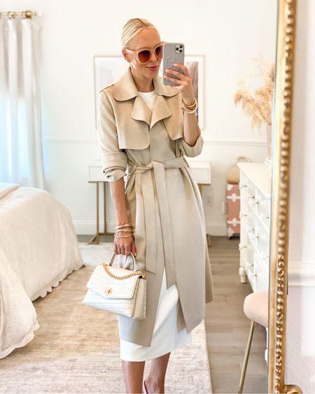 Suede trench. Victoria Emerson accessories. White bodycon dress.   #LTKunder50 #LTKSeasonal #LTKstyletip