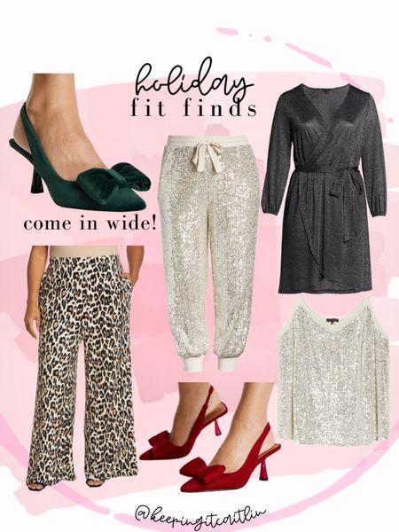 Holiday outfit finds. Wide width velvet heels. Velvet leopard flares. Sequin joggers.    #LTKHoliday #LTKcurves #LTKunder100