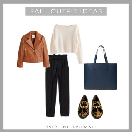 Casual and chic fall outfit idea❤️ Shoes and pants are under 50$:-) - fall outfits for work, fall outfits for women, casual, 2019, leather jacket, tote bag, white sweater, trousers, paper-bag pants, flat shoes, teacher outfit, office wardrobe @liketoknow.it.europe   http://liketk.it/2FaDW #liketkit @liketoknow.it   #LTKcurves #LTKeurope #LTKitbag #LTKsalealert #LTKshoecrush #LTKstyletip #LTKunder100 #LTKworkwear #LTKunder50