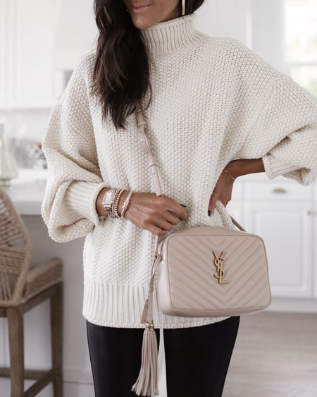 Fall style, fall fashion, turtleneck oversized sweater, chunky knit sweater, faux leather leggings, comfy causal, YSL bag, StylinByAylin   #LTKunder100 #LTKSeasonal #LTKstyletip
