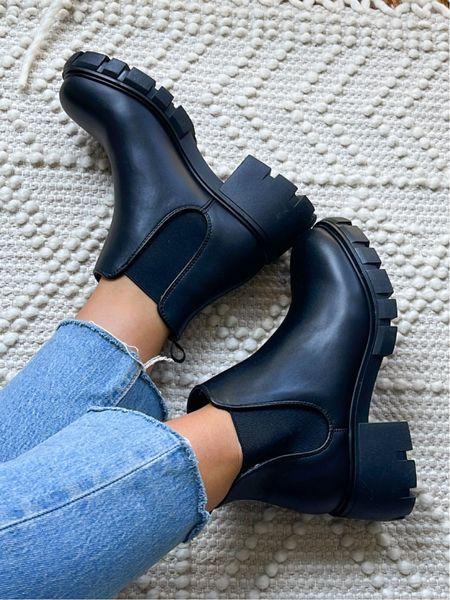 The perfect chunky black boot 😍 comfy and true to size, if in between sizes size down!