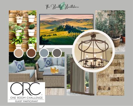 Tuscan vibe backyard porch.    Plants. Plant wall.  Couch.  Sofa.  Outdoor sofa.  Outdoor chair.  Outdoor lighting.  Chandelier.  Outdoor door chandelier.  Farmhouse lighting.  Farmhouse Chandelier.  Rustic lighting.  Bronze.  Light blue couch.  Wicker sofa.  Wicker outdoor furniture.  Wayfair outdoor furniture.  Patio furniture.  Patio lights.  Backyard furniture.  Outdoor vibes.  Outdoor family space.  Patio decor. Outdoor decor.  Backyard decor.     #LTKhome #liketkit @liketoknow.it @liketoknow.it.home @liketoknow.it.family http://liketk.it/3fhQZ