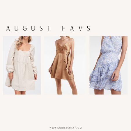 August favs!   Cute end of summer dresses!   🤍🤍🤍🤍  White linen dress, cream linen dress, long sleeve tier dress, neutral silk dress, blue paisley dress  #LTKstyletip #LTKunder100 #LTKSeasonal