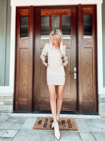 Apricot lane boutique sweater dress  code: JENNA to save   Chanel gold chain vintage belt Suede ankle booties Fall date night outfit Fall style   #LTKstyletip #LTKSeasonal