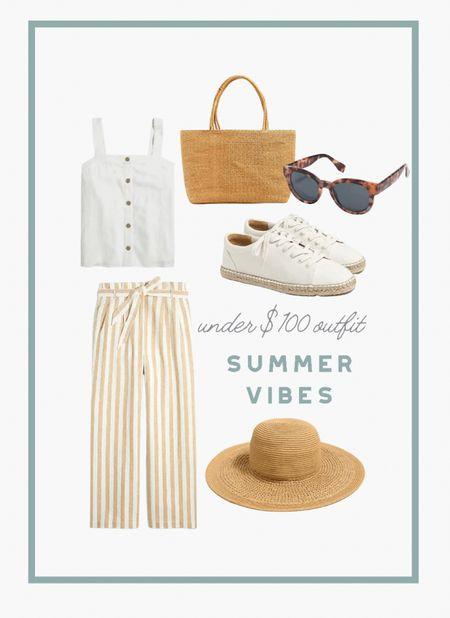 "Easy linen outfit for summer. Use code ""HOT"" for extra 25% off $100 or more. #linen #linenpants #stripes #summeroutfit   #LTKunder100 #LTKSeasonal #LTKsalealert"