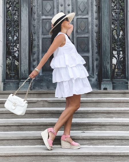 Frills and espadrilles!    Dress - small Espadrilles - TTS  Marc Fisher espadrille wedge | pink heel | friends and family sale | Gigi Pip straw hat | self tanning butter lotion | self tanner | Dior sunglasses | white dress -| Target style | ruffle dress | who what wear dress | wedge |    Shop your screenshot of this pic with the LIKEtoKNOW.it shopping app #liketkit @liketoknow.it http://liketk.it/3cYgc