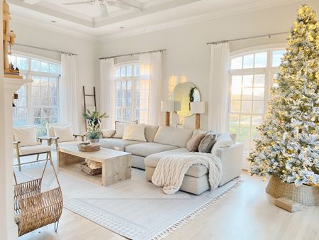 """Christmas in July 🎄   I found the living room rug from our last house in stock and on sale for $263 in this size 9'x12'.    The sofa is """"taft cement"""" - an upholstery that looked new after 5 years of two boys jumping on it.    Click the link in my profile to shop this room!     #LTKsalealert #LTKhome #LTKstyletip"""