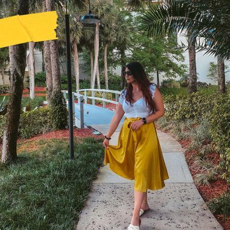 Yellow is growing on me!  Flowy yellow wrap skirt  White crop top White sandals   #LTKunder50 #LTKSeasonal #LTKstyletip