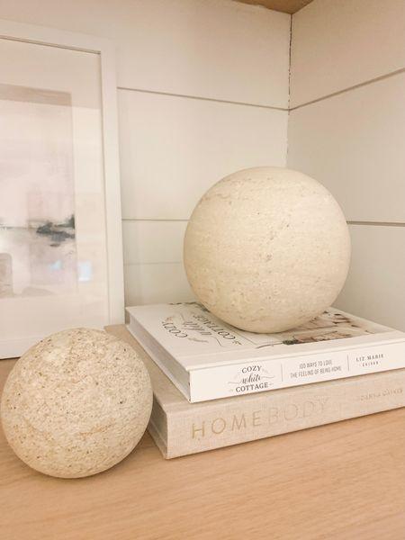 Limestone ball shelf decor from Studio McGee. @liketoknow.it #liketkit http://liketk.it/36vxF