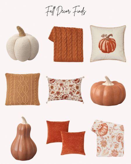 Fall home decor, autumn, throw blanket, pillows, pumpkins, rust, orange, cream, neutrals, decorations  #LTKhome #LTKunder50 #LTKSeasonal