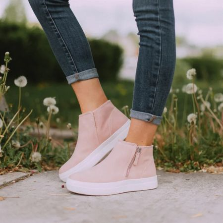 These are my favorite fall sneakers. They are on a platform and look great with jeans. I wear with sweaters and sweatshirts and jeans! These are suede with a side zip. A d they are shoes on sale   #LTKshoecrush #LTKunder50 #LTKsalealert