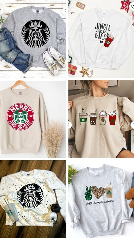 Starbucks inspired sweatshirts from Etsy.  #coffee #coffeelovers #starbucks #hoodies #sweatshirts  #LTKHoliday #LTKSeasonal #LTKGiftGuide