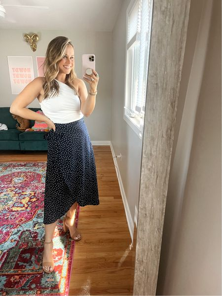 Amazon fashion finds that I'm obsessed with!! This white top looks great with a skirt or with jeans! Linked this wrap skirt would be great for teachers! Also linked my heels  #LTKstyletip #LTKworkwear #LTKunder50