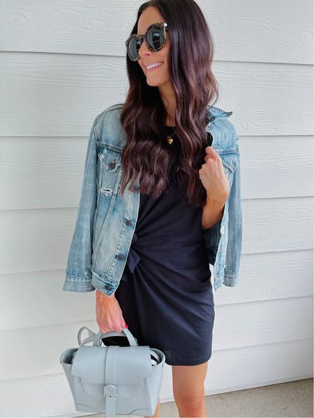 This classic t-shirt dress is sold out, but I found an affordable one on Amazon that's nearly identical! This denim jacket is also a fall staple for me - wearing an XS!