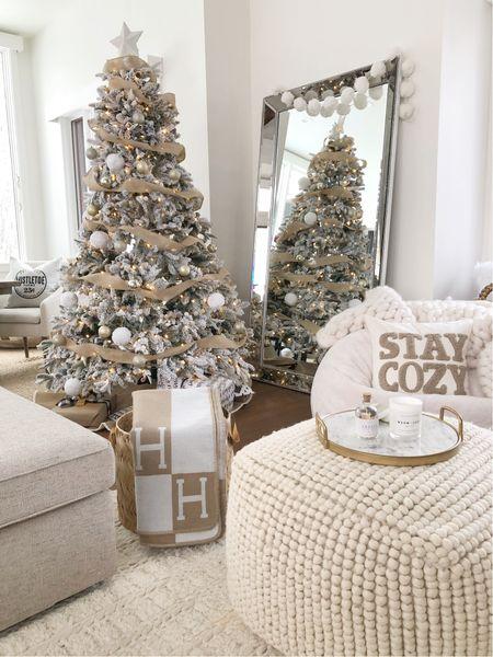 H O L I D A Y S \ Neutral cozy #christmas corner🎄🎄  #christmastree #flockedtree #christmasdecor #holidaydecor #homedecor #livingroomdecor  #LTKHoliday #LTKhome