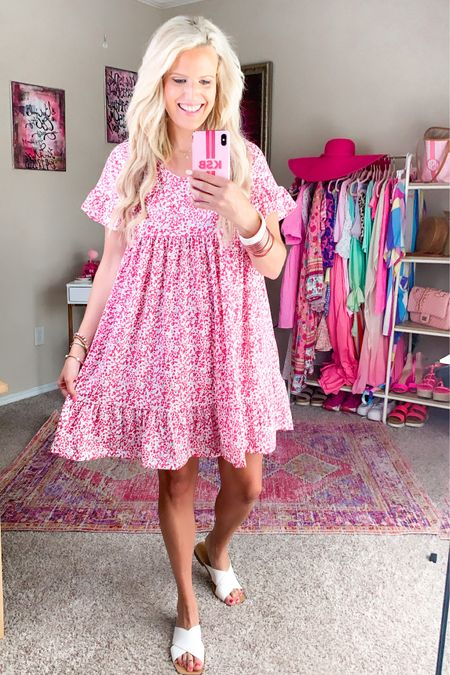 Walmart casual pink floral babydoll dress size L Runs big so size down - other colors available  White sandals TTS Walmart fashion Summer dress, vacation dress, vacation outfit http://liketk.it/3h8uH #liketkit @liketoknow.it #LTKunder50 #LTKDay #LTKstyletip
