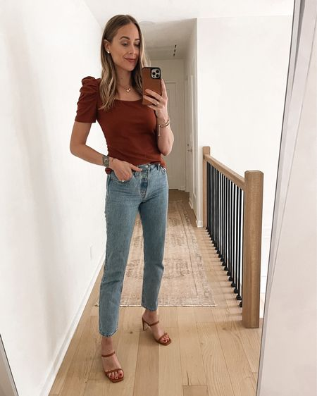 #amazonfashion brown puff sleeve top with jeans and tan heeled sandals #falloutfit #amazonfinds  #LTKstyletip #LTKunder100 #LTKunder50