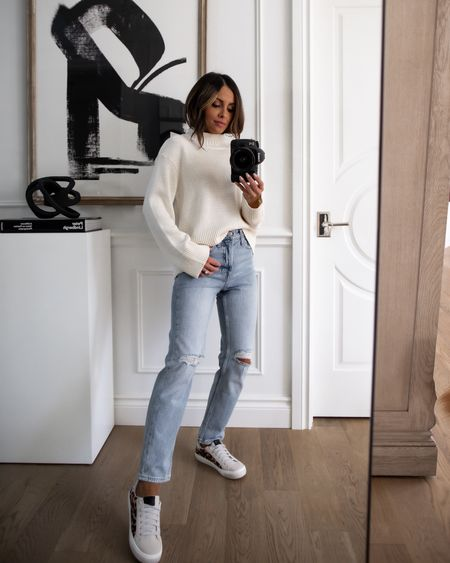 Walmart fashion fall outfit Free Assembly white sweater wearing an XS Free Assembly 90s fit jeans wearing a 0 shirt Golden Goose Similar sneakers    #LTKshoecrush #LTKunder100 #LTKunder50