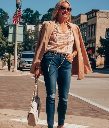 Casual work to weekend calm transition look. Swap out ripped denim for the office. Take off the blazer for dinner. Top fits TTS, had pretty collar details. Blazer had a boxier fit. Size down. Jeans are TTS. Jewelry is what I wear everyday. Julie Vos hoops & delicate layering necklaces.  #LTKunder100 #LTKstyletip #LTKworkwear