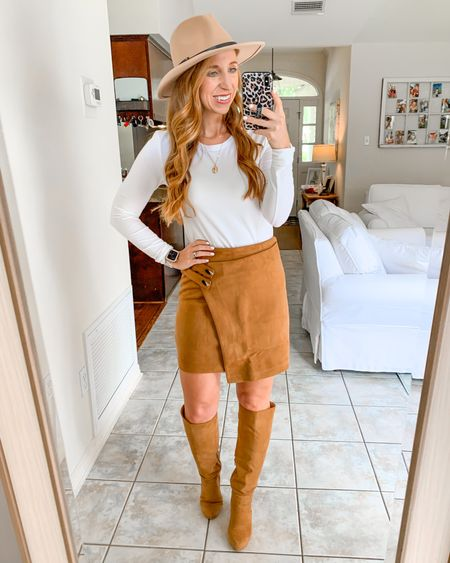 Fall outfit idea               Amazon fashion  Amazon finds  Fall outfits  Suede skirt  Boots  Fall basics  Wide brim hat  White tee   #LTKunder50 #LTKstyletip #LTKunder100