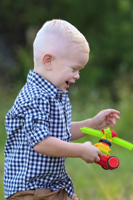 The best way to keep little boys entertained at the photoshoot is with these bristle blocks!   #LTKkids #LTKGiftGuide #LTKfamily
