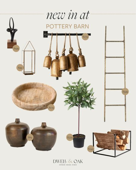 New home decor items from Pottery Barn! Brass bells, antique ladder, faux potted eucalyptus and more, all under $400 #potterybarn   #LTKhome #LTKstyletip