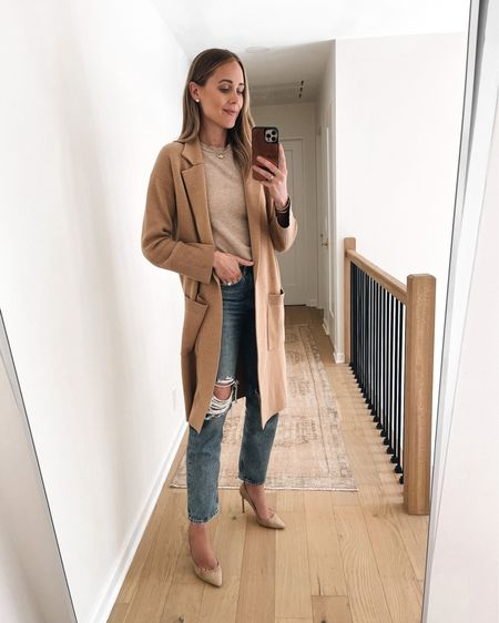 Fall capsule wardrobe outfit idea. Love the beige on beige neutral look for fall. Perfect casual Friday outfit or pair with non ripped jeans for business casual or teacher outfits #falloutfit   #LTKunder100 #LTKstyletip #LTKunder50