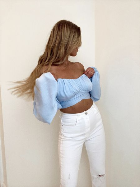 Spring outfit, vacation top, summer style, crop top, white distressed denim jeans, Memorial Day outfit, fashion inspo, white and blue style, trendy look, TikTok fashion, zara, clothing http://liketk.it/3fASq @liketoknow.it #liketkit #LTKunder50 #LTKstyletip #LTKbeauty