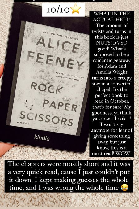 Rock Paper Scissors by Alice Feeney :: 10/10⭐️. WHAT IN THE ACTUAL HELL! The amount of twists and turns in this book is just NUTS! It's SO good! What's supposed to be a romantic getaway for Adam and Amelia Wright turns into a creepy stay in a converted chapel. Its the perfect book to read in October, that's for sure! My goodness, ya think ya know a book…! I won't say anymore for fear of giving something away, but just know, this is a must read! WOW! The chapters were mostly short and it was a very quick read, cause I just couldn't put it down. I kept making guesses the whole time, and I was wrong the whole time 😂 Thriller Mystery book Book recommendations  Book review  #LTKHoliday #LTKhome #LTKtravel