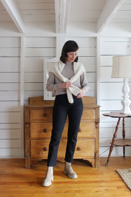 A recent layered look from the Style Journal.   Cardigan (on shoulders) - Sézane - True to size, review on the blog.  Mockneck & Jeans - old - Similar linked Boots - Maguire