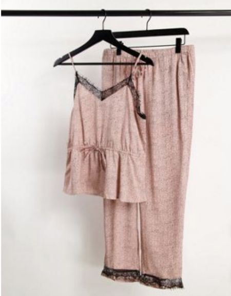 Lace trim satin pajamas   #LTKunder100 #LTKSeasonal #LTKtravel