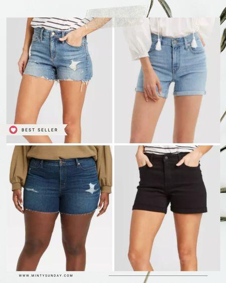Favorite denim shorts at Target plus 25% off with Target Circle, available online as well! black shorts true to size, best seller shorts runs a little big  #LTKsalealert #LTKstyletip #LTKunder50