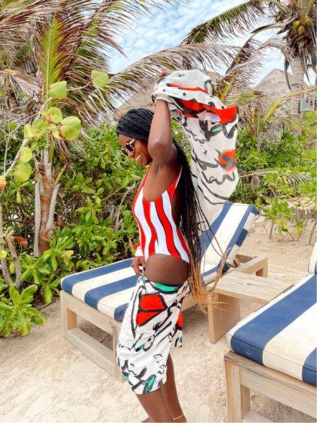 Red and white striped 90's swimsuit from Desigual. Lip print resort set, lip print Bermuda shorts.   #LTKswim #LTKtravel #LTKstyletip