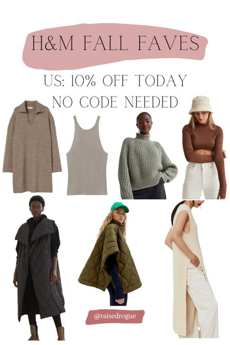 Fall faves are 10% off today!   Sweaters   polo neck jumpers   quilted vest   cape   poncho   Knit dress   Sweater vest   #LTKunder100 #LTKunder50 #LTKsalealert