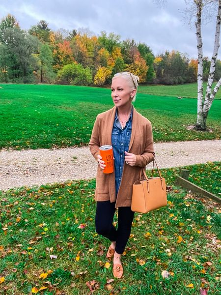 Casual Outfit for a crisp Autumn day! 🍁👜🍂  Casual Outfit / Casual Look / Skinny Jeans / Shopping Look / Shopping Outfit / Lunch Look / Lunch Outfit / Date Night Look / Date Night Outfit / Designer Outfit / Kate Spade / Tory Burch / over 40 / over 50 / over 60 / petite / Fall Outfit / Fall Fashion / Workwear / Work Outfit / Teacher Outfit / Cardigan   #LTKworkwear #LTKSeasonal #LTKitbag