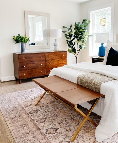 Modern bedroom dresser and a leather bench at the end of the bed.  Leather bench, bedroom furniture, bedroom decor, wood dresser, neutral decor, home decor    #LTKhome