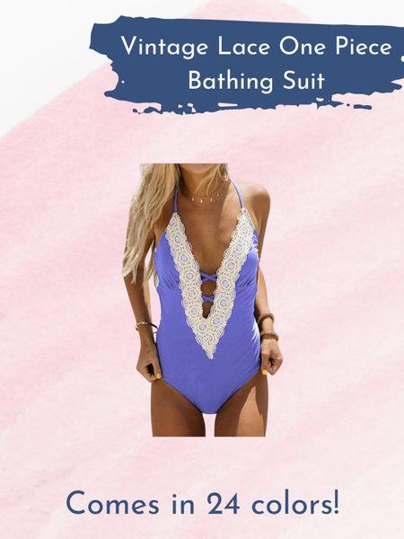 Wednesday Wishlist- Vintage Lace One Piece Swimsuit   http://liketk.it/3iInT @liketoknow.it #liketkit #LTKunder50 #LTKswim